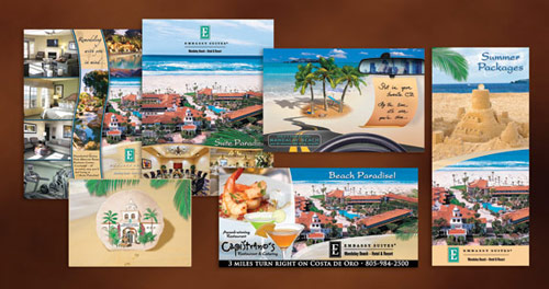 rochures, presentation folders, rack cards, mailers and freeway billboards for Embassy Suites by Creative365