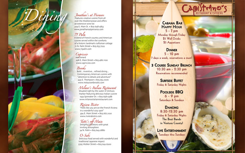 posters and menus for oxnard restaurant