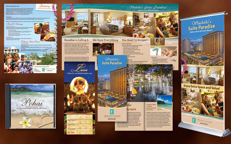 design of brochures, newsletters, flyers, trade show display for hotel