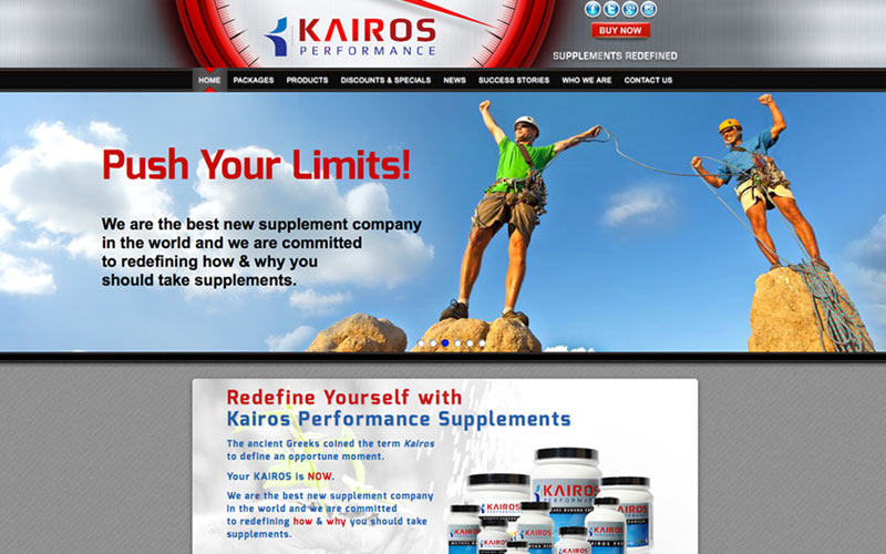 website design and e-commerse site for kairos performance, california