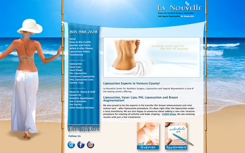 web design for liposuction center, ventura