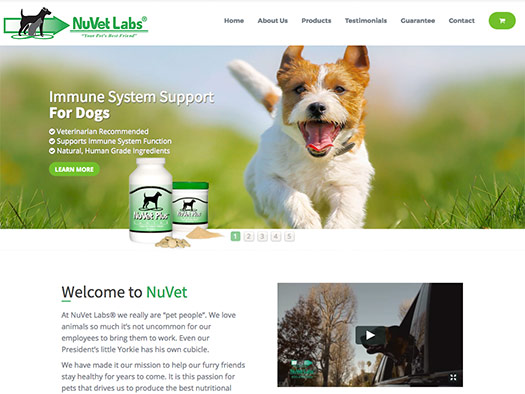 custom e-commerce website design by Julia Ionov for nuvet dog supplements
