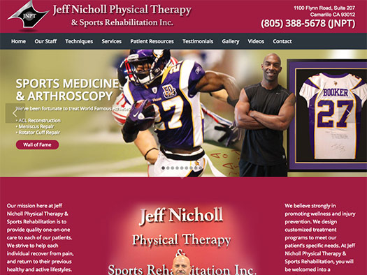 custom website design for physical therapy and sports rehabilitation