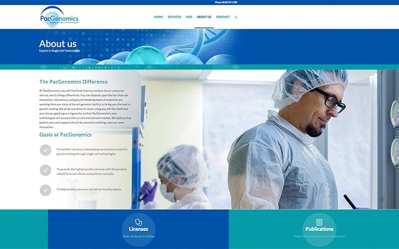 web design for genetic testing lab in agoura hills