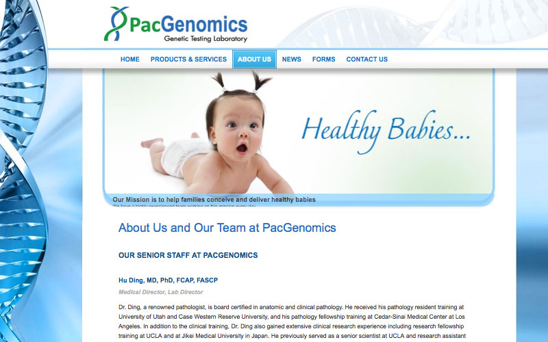 web design for genetic testing lab in thousand oaks