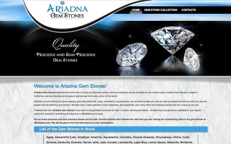 website for a gemstones company