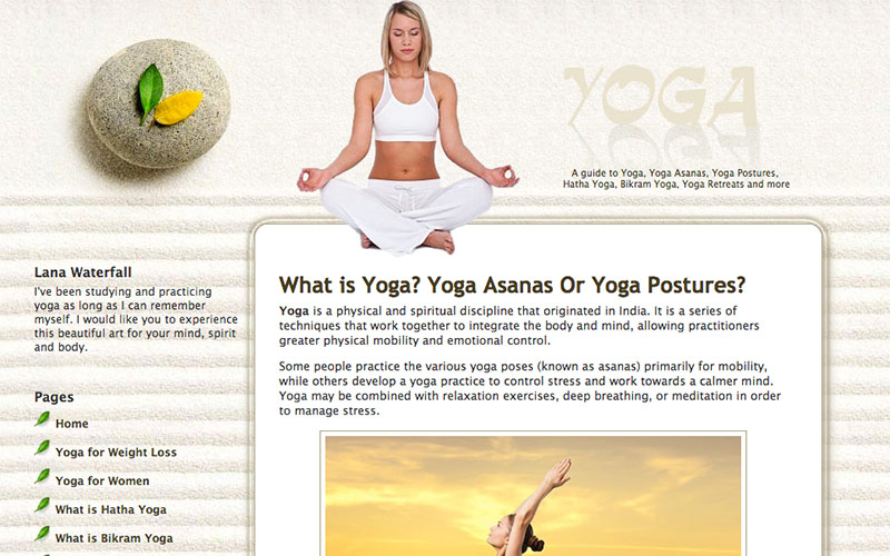 website for a yoga studio